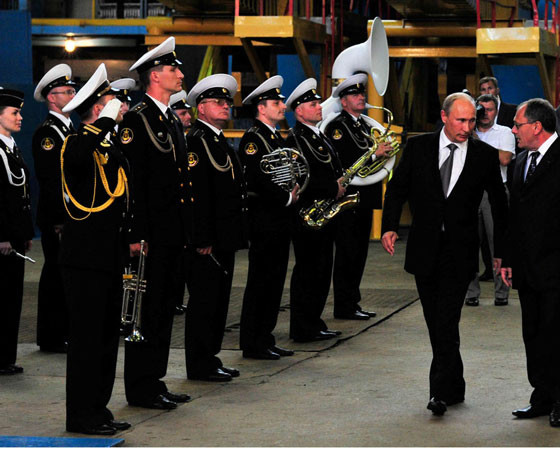 На закладку подлодки проекта 955 А «Князь Владимир» 30 июля 2012 года прибыл президент В. Путин. Фото пресс-службы ОАО «ПО «Севмаш»