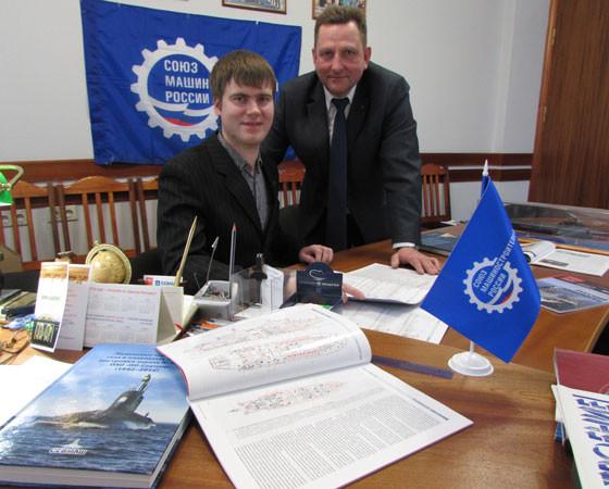 А. Хабаров с руководителем проекта В. Шиловским. Фото Екатерины Курзенёвой