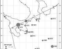 Карта эпицентров землетрясений в нашем регионе. Число — год происшествия, размер кружка — магнитуда (сила толчка).  Фото из архива Алексея Морозова