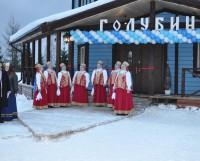 Купец и купчиха встречают дорогих гостей у входа в новый гостиничный комплекс. Фото Анастасии Кудриной