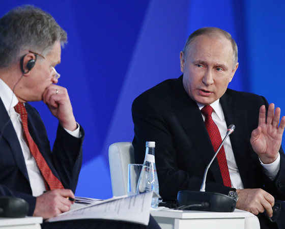 Разговор на высшем уровне: президенты Финляндии и России. Фото организаторов форума «Арктика — территория диалога»