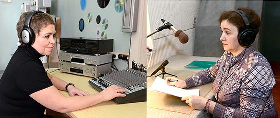 Электромонтёр станционного оборудования и радиофикации РЭЦ Татьяна Зинюк и ведущая радиопередач Светлана Миронова.