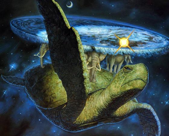 Звёздная черепаха А'Туин несёт на себе сквозь толщу космоса четырёх слонов, которые держат на спинах Плоский мир Пратчетта.